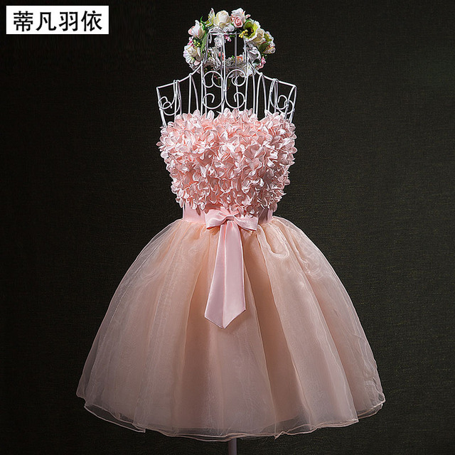 Pure Handwork Flowers Petals Decoration Organza Strapless Short Ball ...