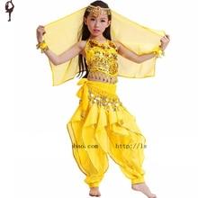 Belly Dance Dress 4-Pieces Set (Tops&Pants&Waist chain&Head veil) 3colors Kids Dance Costume Free Shipping Girl Belly Dance