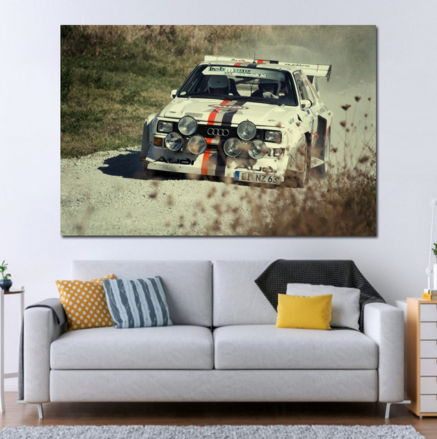 Cool Sport Rally Race Cars KD384 Living Room Home Wall Modern Art Decor  Wood Frame Fabric