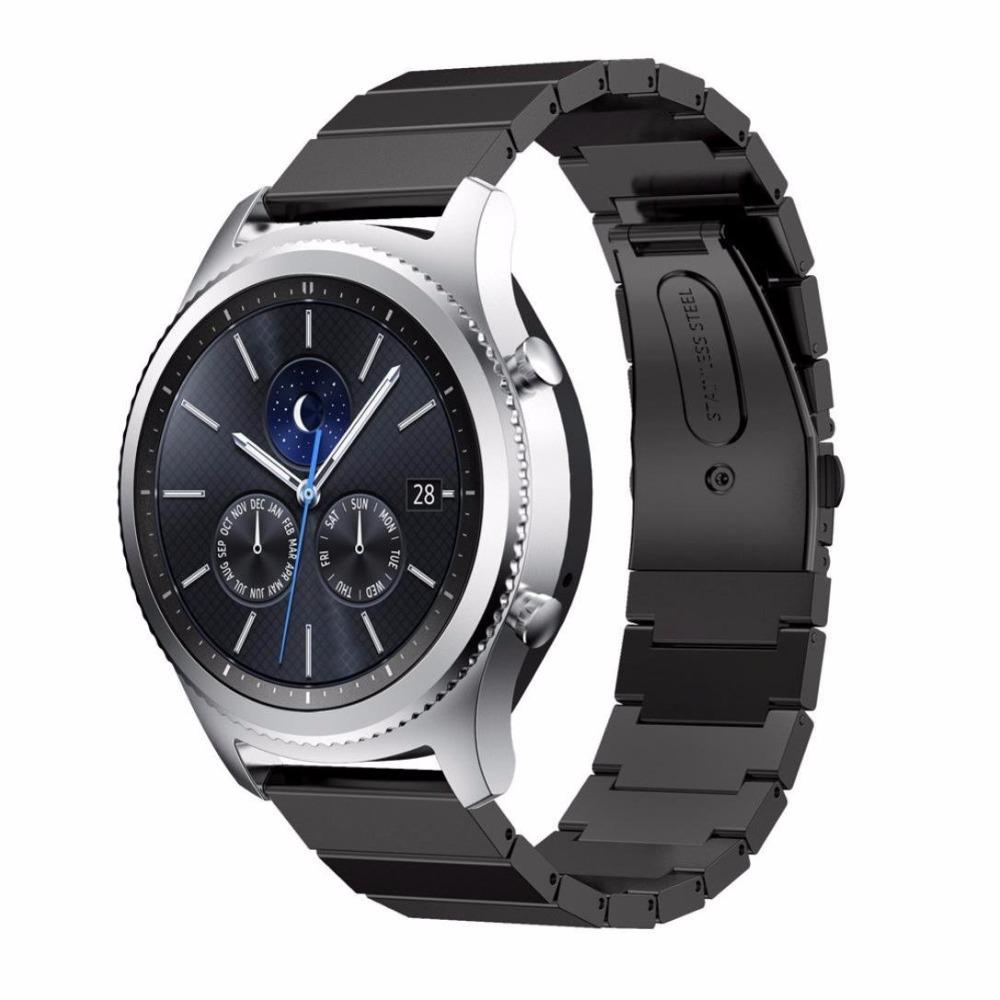 Prix pour Haute qualité Inoxydable bracelet En Acier Inoxydable bande 22mm bracelet pour Samsung Gear S3 Classique Montre bracelet accessoires