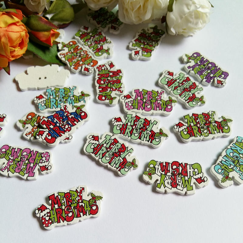 30pcs Merry Christmas Alphabet wood Buttons for craft scrapbooking Mix christmas sewing accessories supplies