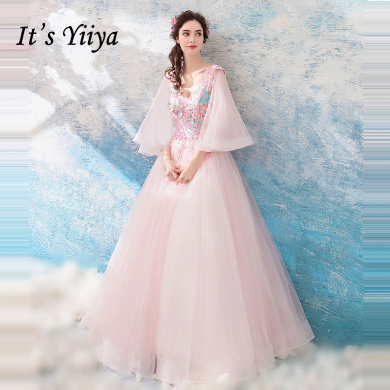 It's Yiiya   Prom   Gowns Tulle Pink Embroidery V-neck Half Sleeves A-line Floor Length Custom Plus Size   Prom     Dresses   2019 LX861