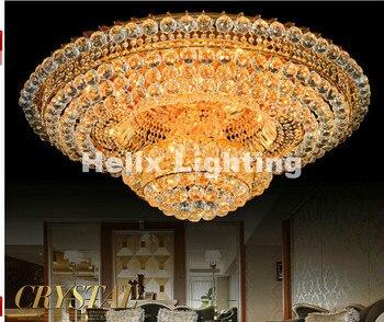 Kostenloser versand Kristall Lampe Traditionelle Goldene Wohnzimmer Lampe  Moderne Schlafzimmer Lampe LED AC Deckenleuchte D60cm D80cm Deckenleuchte