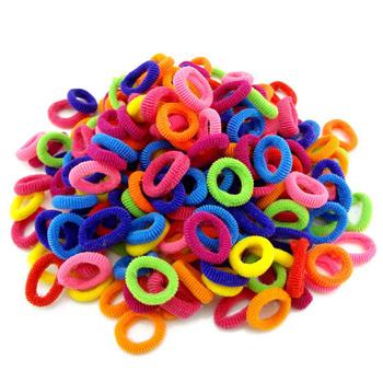 Hurtownie 100 szt kolorowe dziecko dzieci uchwyty do włosów cute gumowe włosy Band Elastics akcesoria dziewczyna Charms tie gum tanie i dobre opinie Headwear Nylon Dziewczyny Moda Stałe Elastic Hair Bands