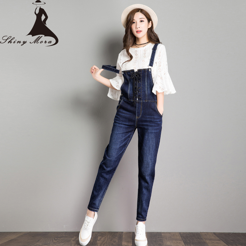 SHINYMORA 2017 Autumn Loose Overalls Jeans Women Lace Up Denim Casual Harem Jeans Pants Trousers Female Jumpsuit Rompper 6135 loose lace up casual mens pencil pants