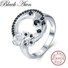 Bonito 3.8g 925 sterling silver fine jewelry baguet linha noivado preto spinel butterfl anéis de noivado para mulher g027