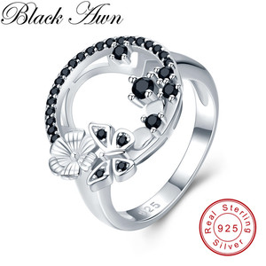 Image 1 - Cute 3.8g 925 Sterling Silver Fine Jewelry Baguet Row Engagement Black Spinel Butterfl Engagement Rings for Women G027