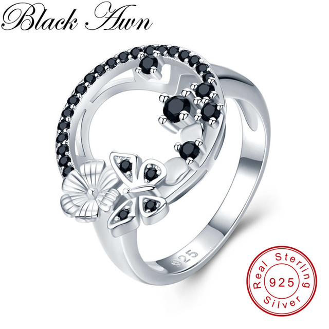 Cute 3.8g 925 Sterling Silver Fine Jewelry Baguet Row Engagement Black Spinel Butterfl Engagement Rings for Women G027