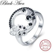 Śliczne 3.8g 925 Sterling Silver Fine Jewelry bagietka wiersz zaręczyny czarny Spinel Butterfl obrączki dla kobiet G027