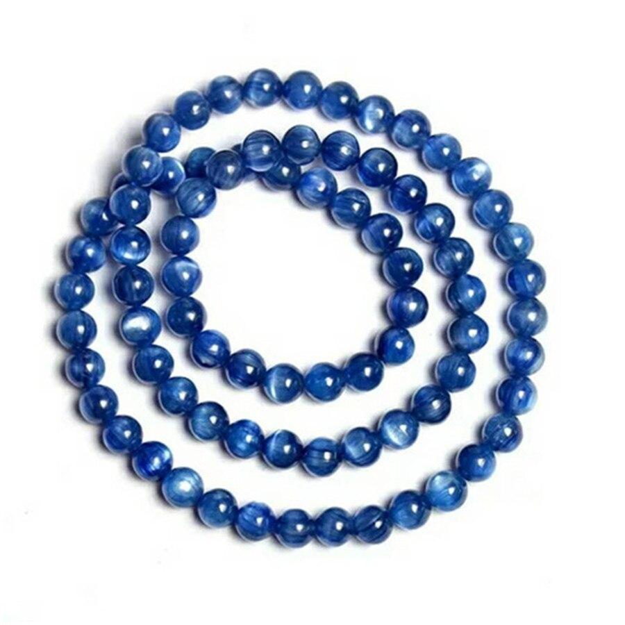 6mm véritable naturel bleu Kyanite Bracelets femmes extensible ronde perle cristal trois tours Bracelet oeil de chat collier AAAAA