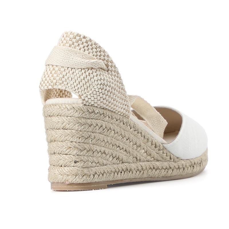 HTB1yAb.RgHqK1RjSZFgq6y7JXXaI New 0-3cm Tienda Soludos Womens Wedge Sandals Ankle Strap Cap Toe Espadrille Sandal Concise Cotton Fabric {sandals} Women