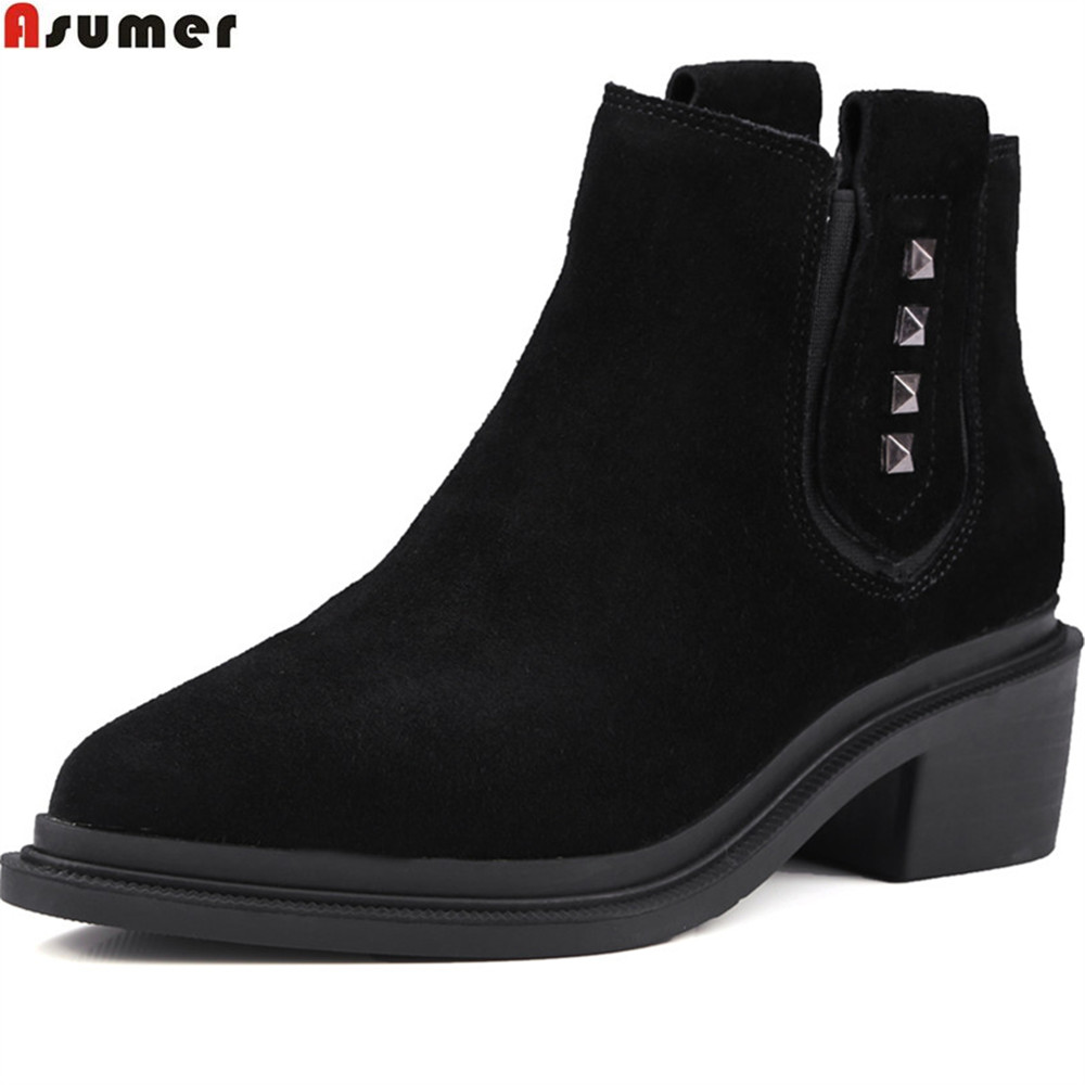 ASUMER black gray fashion new arrive women shoes square heel ladies boots cow suede boots pointed toe leather ankle boots игрушка ecx ruckus gray blue ecx00013t1