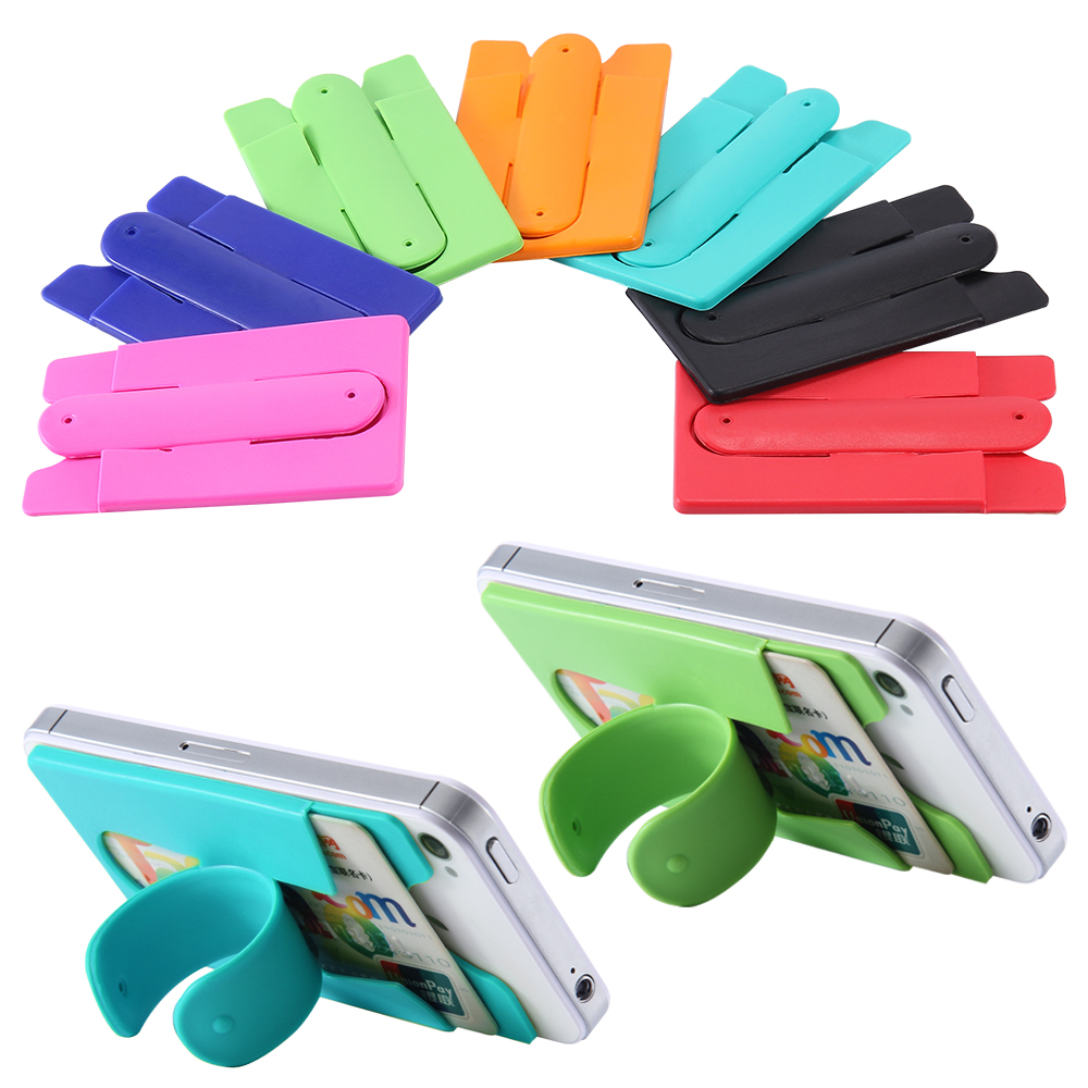 Universal Silicone Back Sticker Mobile Phone Stand Holder For iPhone Samsung LG HTC Sony Huawei Smartphone Case With Card Slot