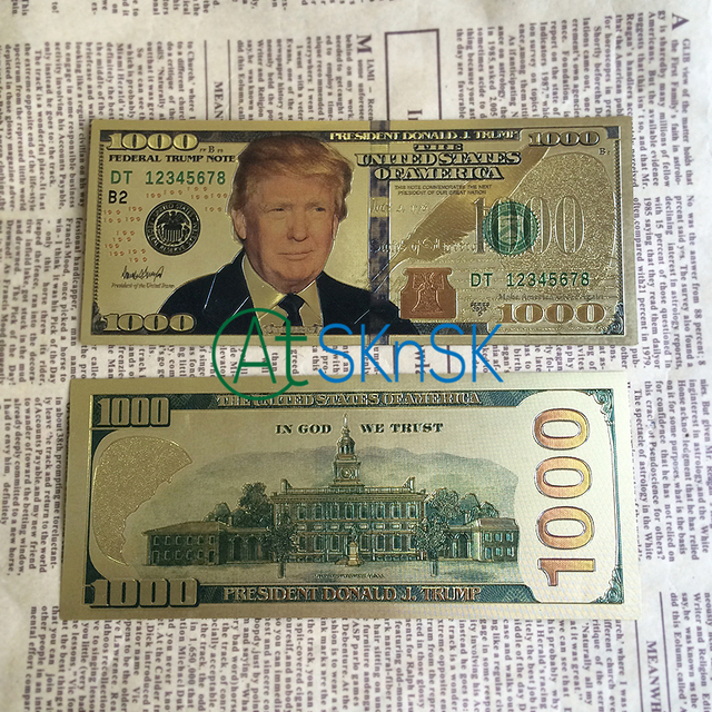 1-10pcs/set New USA President Donald Trump US Dollar Gold Banknote 1000 USD