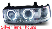 1pair Prado 4500 LC80 FJ80 LED Angel Eyes Headlight 1990 1991 1992 1993 1994 1995 1996 1997 year RC Black/silver car accessories