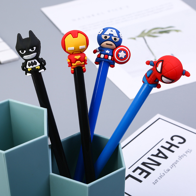 Cute 0.5mm Super Hero Spiderman Captain America Iron Man Gel Pens Student Writing Signature Pens Korean Stationery