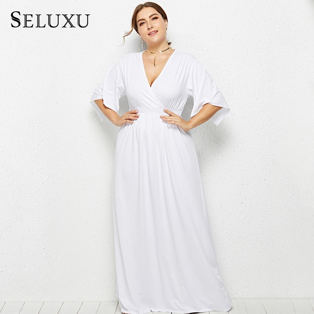 Seluxu Plus Size Summer Dresses For Women 2019 Elegant Vestidos Robe Femme  Jurken White Color Solid Maxi Ladies Dress