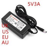 100PCS US EU UK AU plug AC line 1.5M + DC line 1.2M AC100 240V 5V power Adapter 5V 3A AC DC 5V Adapter 5V3A