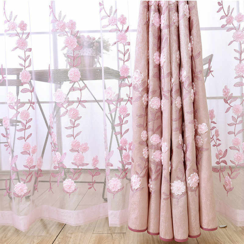 Modern Stereo embroidered decorative curtains and tulle, stitching jacquard organza screens for living room