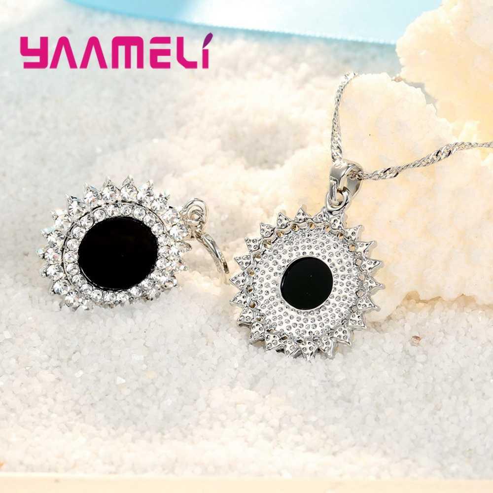 925 סטרלינג כסף שרשרת & עגילים קובע נשי מגניב יוקרה סגנון קריסטל פרח צורת שחור עבור ליל כל הקדושים הפתעה