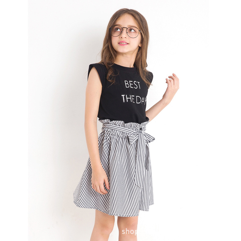 Menina conjunto de roupas para verão impressão listra topos + saia 2pcs adolescente roupas moda verão meninas terno para adolescente 6 8 10 12 y