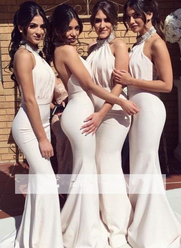 2019 Cheap Bridesmaid Dresses Under 50 Mermaid Halter Beaded Long Wedding Party Dresses For Women