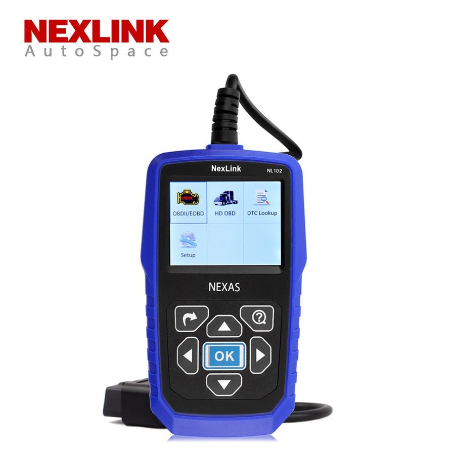 Цена за NexLink NL102 Универсальный OBD2 Car + Truck Сканер Heavy Duty Дизель Бензин Автоматический Диагностический Инструмент для Volvo Isuzu NL-102