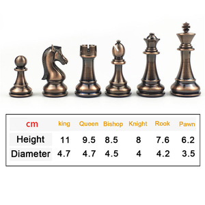 Image 2 - מתכת שחמט סט בדרגה גבוהה מתנת נסיעות בינלאומי שחמט משחק מתקפל עץ עובש לוח שחמט Kirsite שחמט חתיכות צ סמן I60