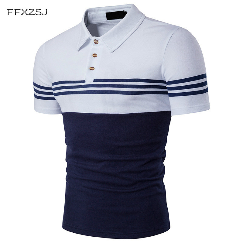 FFXZSJ Polo Shirt Men 2018 Summer Brand Male Short Sleeve Casual Korean Trend Stripe Patch Polo Tee Plus Size S-XXL White Black