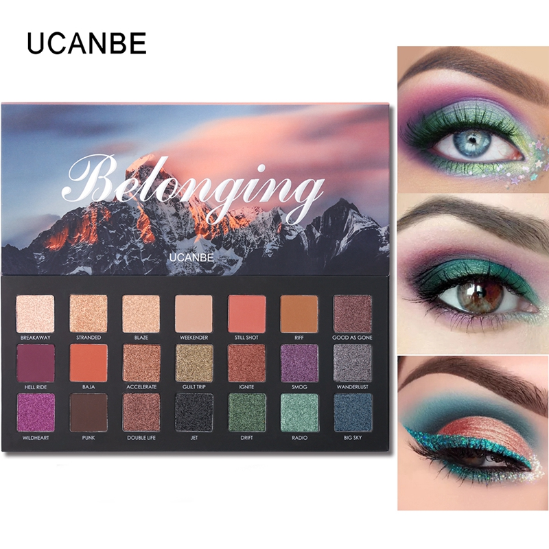 купить UCANBE Brand 21 Color Shimmer Matte Eyeshadow Palette Glitter Eye Shadow Powder Waterproof Long Lasting Pigment Smoky Makeup онлайн