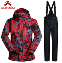 Wild Snow Men Outdoor Waterproof Windrpoof Set Skiing Snowboard Jacket And Pants New Men's Winter Ski Set Snowboard Suit