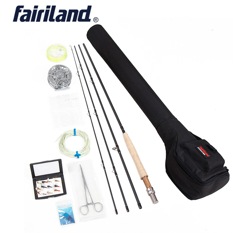 Fly Fishing combo Portable Complete 5/6 4 sections fly rod, Large Arbor fly reel  Lures Set  black case fly fishing set rod bag(China)