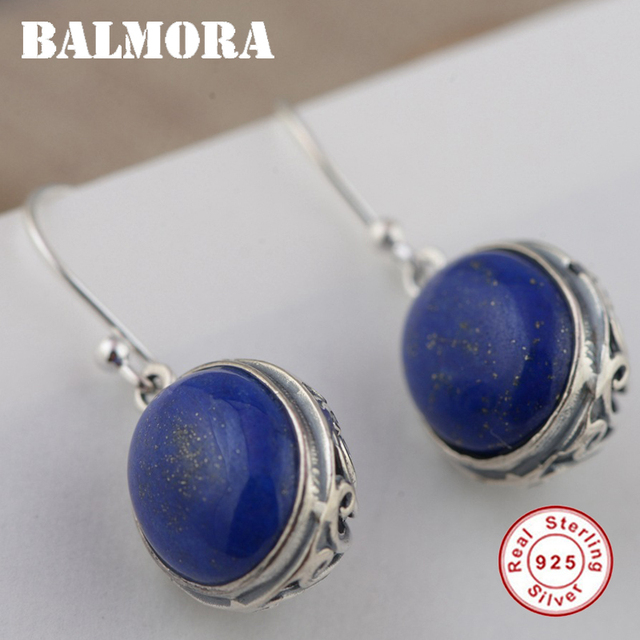 Balmora 925 Sterling Silver Lapis Lazuli Drop Earrings For Women Gift Retro Fashion Jewelry
