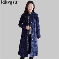 2019 New retro Autumn Winter Large Size long Cotton Linen Trench Coats Embroidery Jacquard plus velvet Windbreaker Female V233