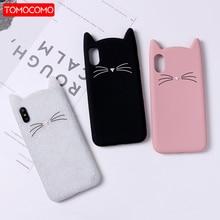 TOMOCOMO Cute 3D Silicone Cartoon Cat Pink Black Soft Phone Case Cover Coque Fundas For iPhone 7 7Plus 6 6S 5S 8 8Plus X  XS Max