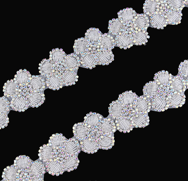 10Yard New Design Flower Shape Beaded Rhinestone Applique Trimming Hot Fix  Crystal Applique Accessories For Girl Wedding Dress cd54ce1d2a72