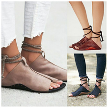 ФОТО suojialun large size 35-42 zapatos mujer summer sandals women flats shoes ladies 2018 lace up woman ankle strap female chaussure