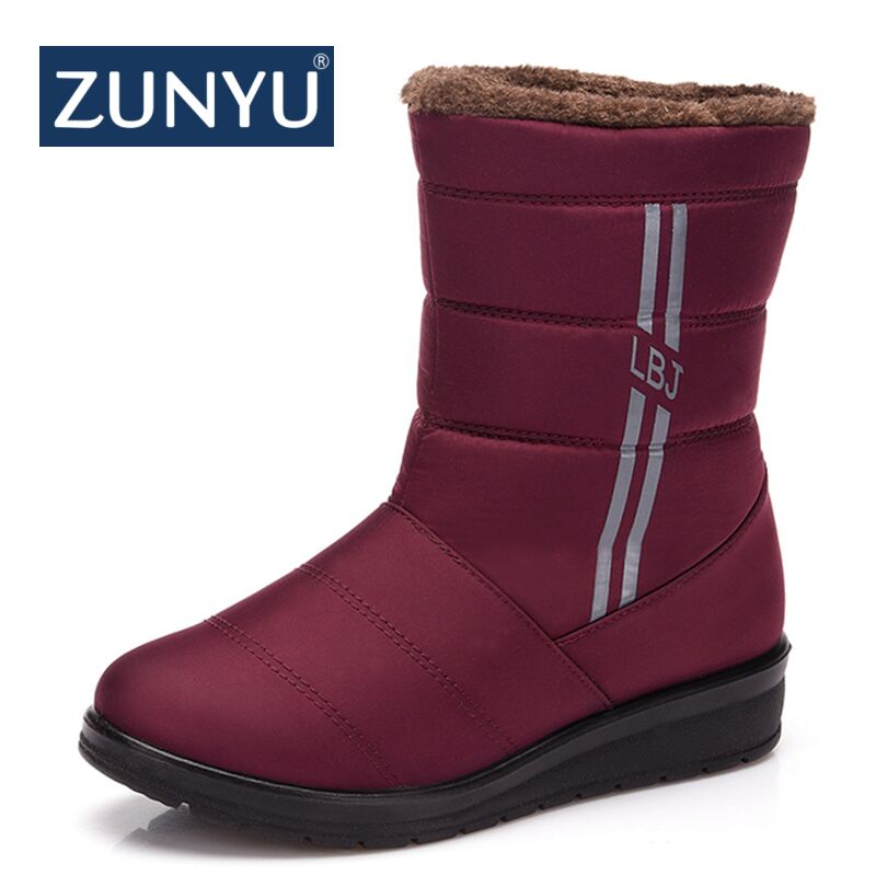 ZUNYU Women's Snow Boots Winter Female Casual Warm Shoes Fur Waterproof Upper Fashion Non-Slip Sole New Style Woman Snow Boots france tigergrip waterproof work safety shoes woman and man soft sole rubber kitchen sea food shop non slip chef shoes cover