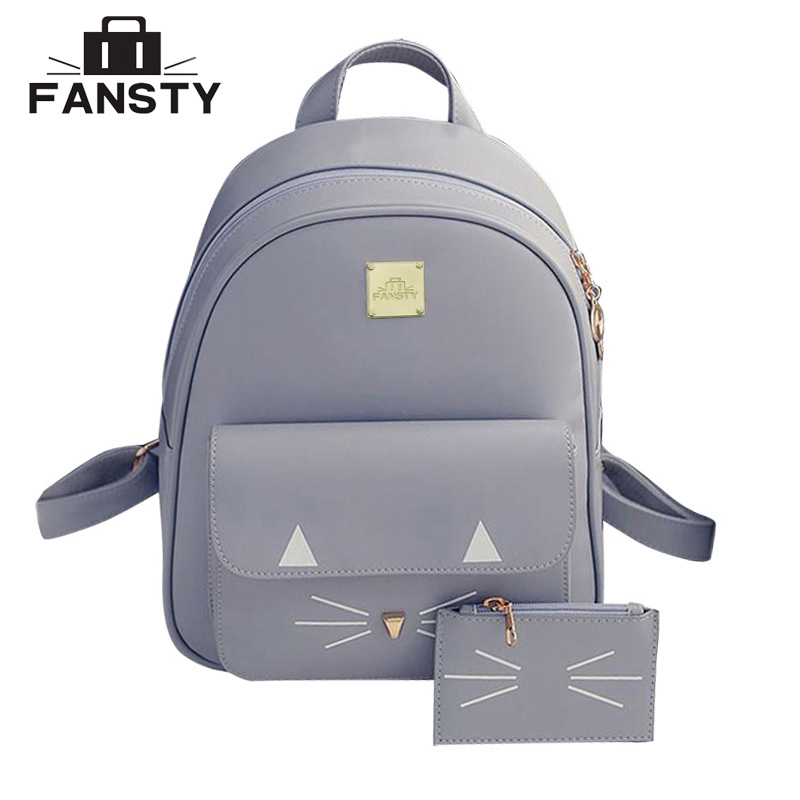 2017 Popular Women Cute PU Leather Backpack Female Fashion Cat School Bag Student College High Capacity Rucksack Lady Travel Bag new travel backpack korean women female rucksack leisure student school bag soft pu leather women bag