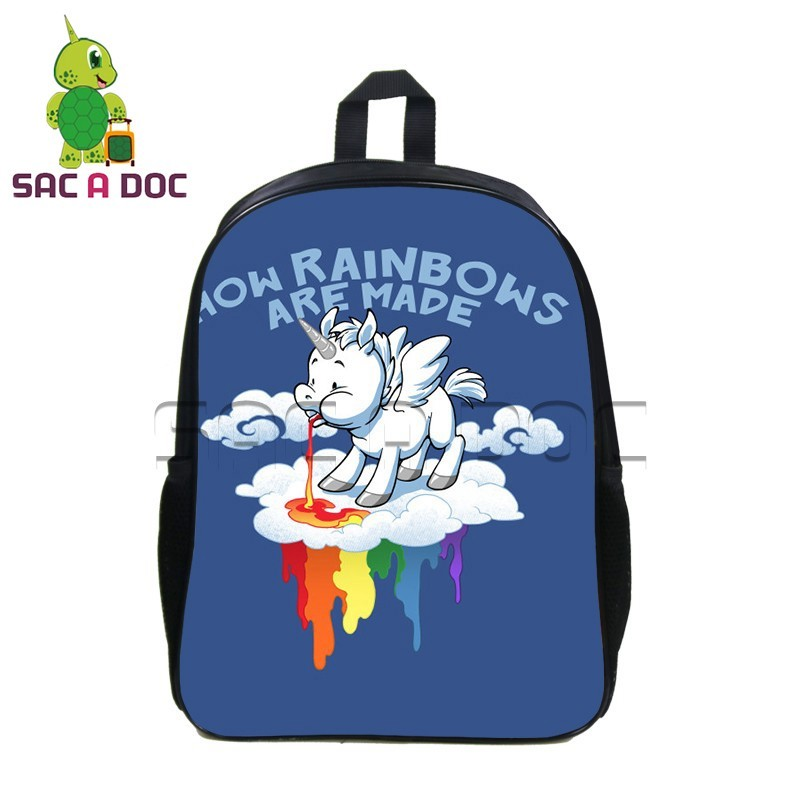 825766bba2a6 US $15.3 15% OFF|Funny Chibi Rainbow Unicorn Backpack Women Kawaii Super  Unicorn Backpacks School Bags for Teenagers Girls Boys Travel Bag-in ...