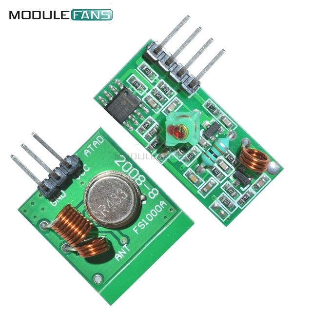 2 Pairs 433Mhz RF Transmitter And Receiver Link Kit For Arduino ARM MCU DC 5V External Antenna AM Mode VCC Voltage Module