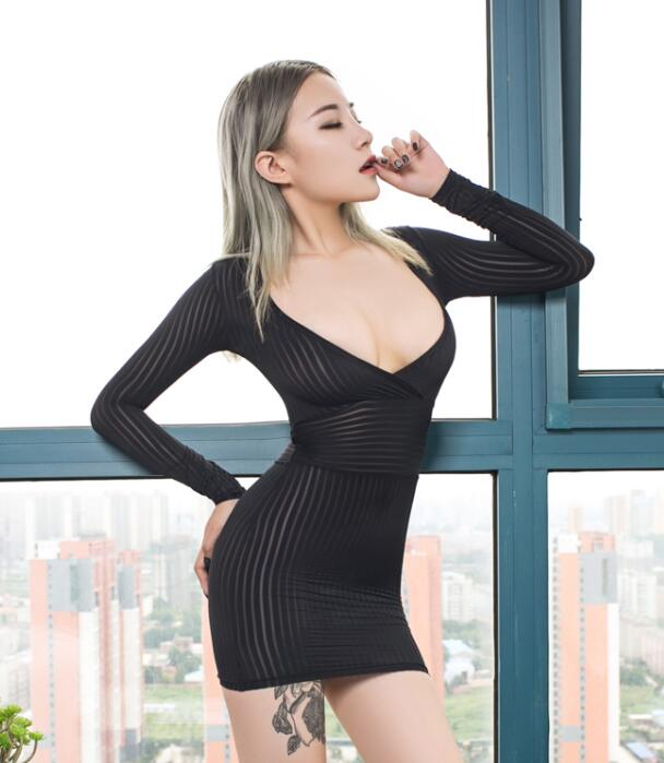 New Sexy Women Tight Pencil Cute Dress See Through Straight Micro Mini Dress Transparent Night Club Fantasy Erotic Wear FX1020 7