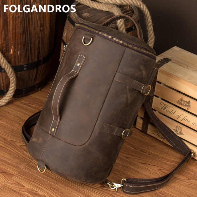 94d18695012a0 2018 Vintage Backpack Men Cow Leather Handmade High Quality Duffle College  Student Shoulder Bags Cowboy Multi