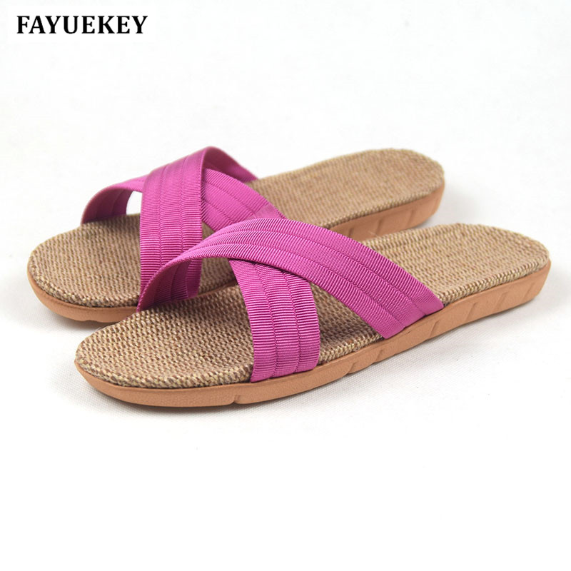 FAYUEKEY 2018 New Fashion Summer Home Cross Linen Slippers Women Indoor\ Floor Non-slip Beach Slides Flat Shoes Girls Gift coolsa women s summer flat non slip linen slippers indoor breathable flip flops women s brand stripe flax slippers women slides
