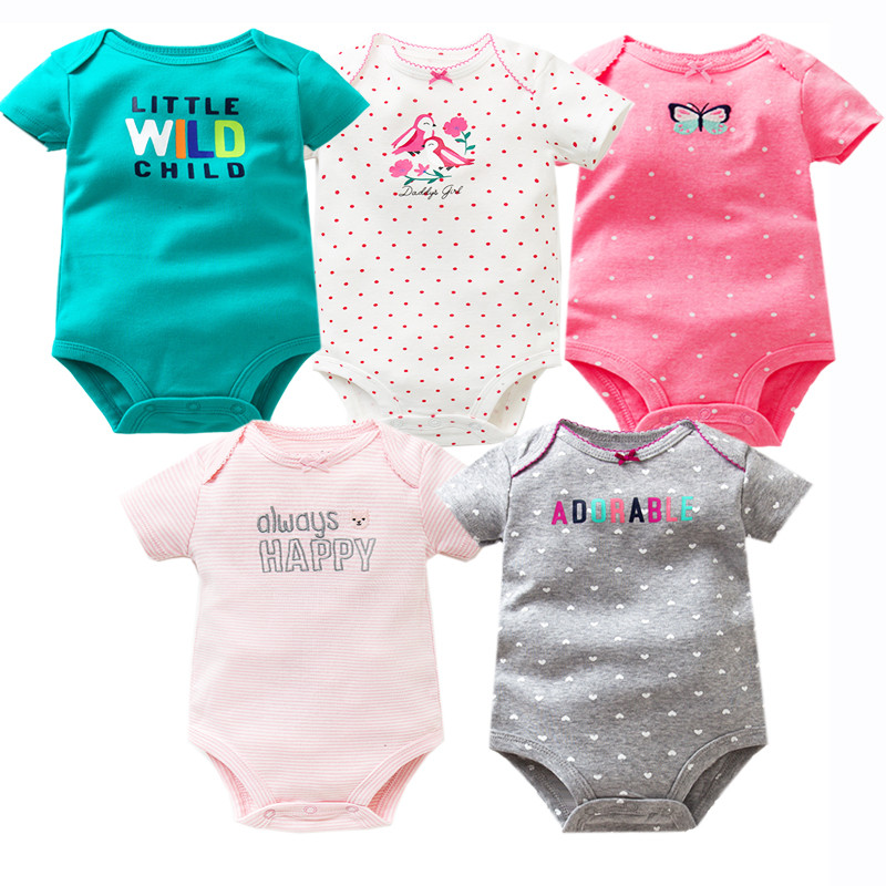 5 PCS/LOT Baby Bodysuits Cotton Infant Jumpsuit Short Sleeve Newborn Baby Clothing 2018 Summer Baby Girls Boys Clothes 6-24Month