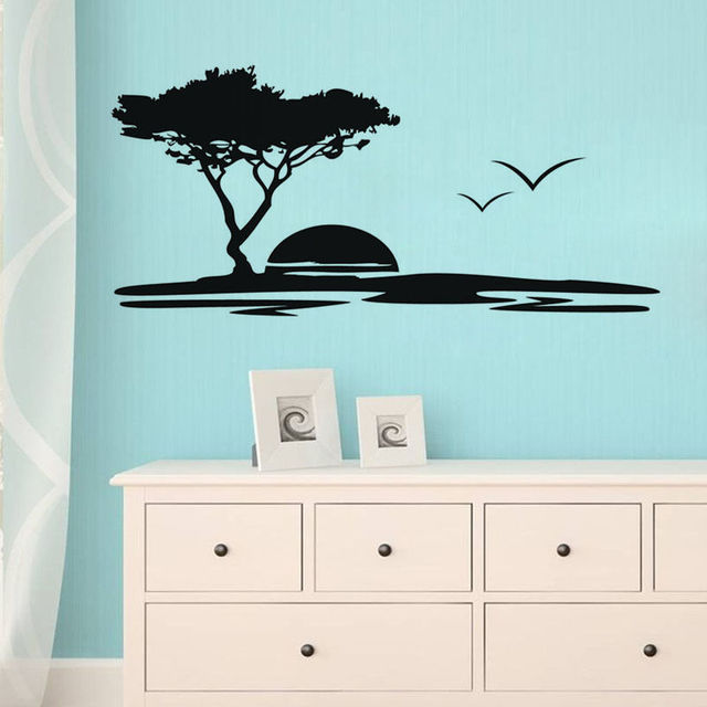 Sunset Wall Sticker Sea Wall Decals Kid Room Wall Decor Bedroom Ocean Wall  Decal