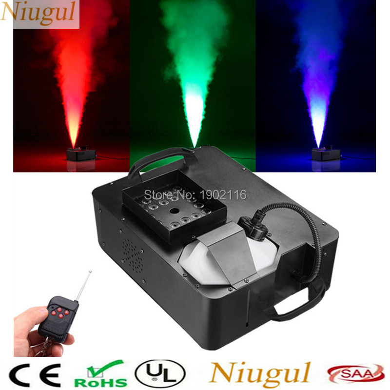 1500W Wireless and DMX512 Control LED Fog Machine Pyro Vertical Smoke Machine/Professional Stage Fogger with RGB 3IN1 LED Lights