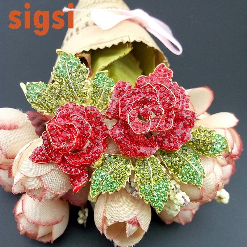 50/100 pièces meilleure vente 70mm cristal rouge double fleur grande rose bijoux broche broches