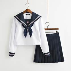 Японская школьная форма аниме COS костюм моряка Топы + галстук + юбка JK темно-синий стиль Студенческая Одежда для девочек с длинными рукавами