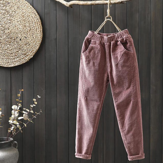 4910a50e276 Plus Size Vintage Winter Pants Women Elastic Waist Corduroy Pants Loose  Casual Harem Pants Long Trousers Women Sweatpants C5120